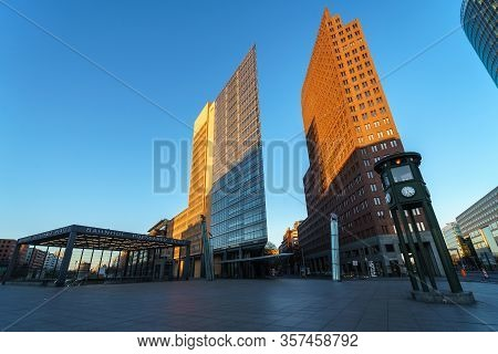 Berlin - March 22, 2020: Modern Skyscraper At Potsdamer Platz. Early Morning. Desert Area Caused By