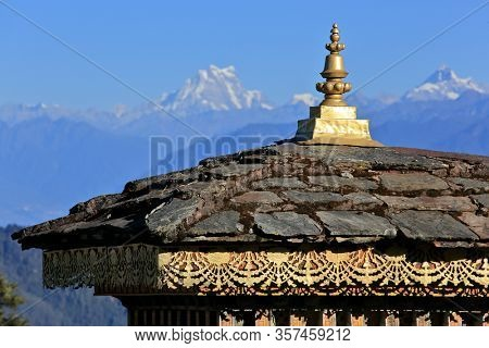 Dochula pass on the road from Thimpu to Punakha (Bhutan) where 108 memorial chortens or stupas known as
