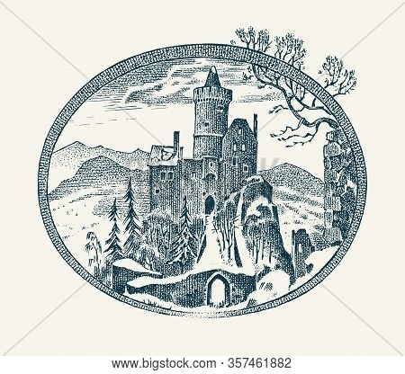 Medieval Castle. Historical Antique Chateau. Ancient Mansion Scenery. Vintage Vector Landscape Sketc