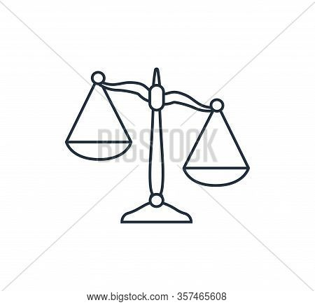Scales In Line Design. Libra Icon. Scales Of Justice.