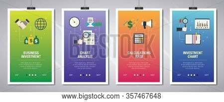 Vector Set Of Vertical Web Banners With Business Investment, Chart Analysis, Calculations Rate And I