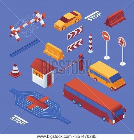 Set Isometric Of Border Closure, Cars And Equipment, Stop Coronavirus Sign On Blue Bckground. Vector
