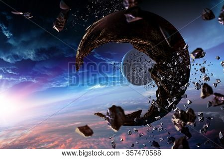 Abstract planets and space background