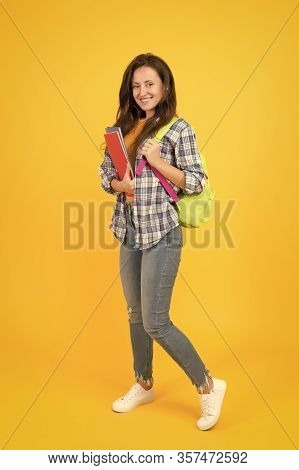 Regular Student Carry Workbooks. Student Life. School Girl With Backpack. Woman Adult Student. Final
