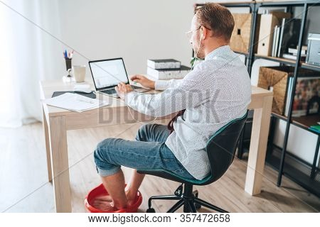 Comic Modern Home Office Situation. Businessman Have Emotional Video Call Chatting On Laptop And Soa