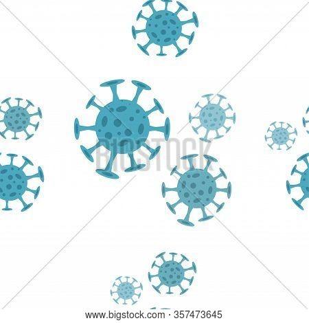 Seamless Pattern With Coronavirus Virus In 2020. World Coronavirus Cell China Influenza Respiratory