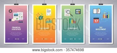 Vector Set Of Vertical Web Banners With Financial Statistics, Tax Profit, Loss Chart And Tax Investm