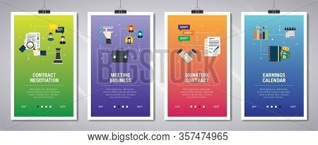 Vector Set Of Vertical Web Banners With Contract Negotitation, Meeting Business,  Signature Contract