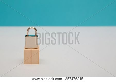 Security, Protection Mockup, Copy Space. Safety Guarantee And Safeguard. Under Guard. Closed Padlock