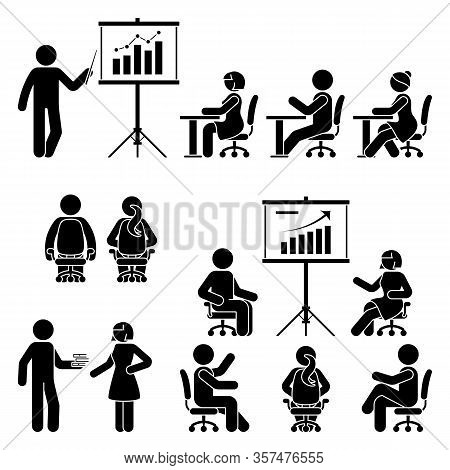 Stick Figure Man, Woman Teaching, Training, Studying Workshop, Lesson, Conference, Meeting Vector Ic