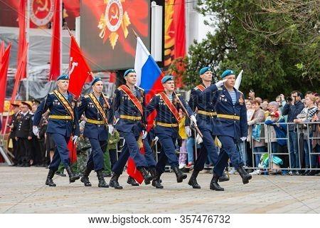 Anapa, Russia - May 9, 2019: Representatives Of The Landing Troops At The May 9 Victory Day Parade I