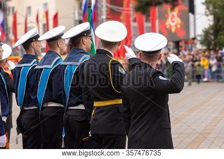 Anapa, Russia - May 9, 2019: Greeting Of Sailors At The May 9 Victory Day Parade In Anapa Russia