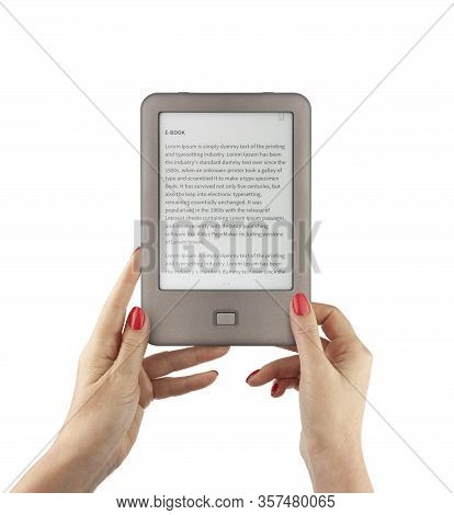 Holding E-book Reader In Hands. Include Clipping Path For Screen And Book With Hands. Lorem Ipsum Te