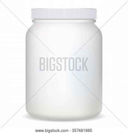 Supplement Bottle. White Plastic Protein Container For Bodybuilding Sport. Cylinder Can Design Mocku