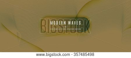 Camo Landing Page Design. Abstract Flow Shape Texture. Wave Business Movement. Green Futuristic Illu