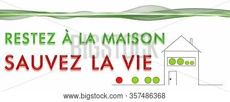 Panorama Design Illustration Stay At Home Save Life In French