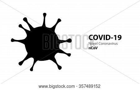 Corona Virus Black Silhouette Covid-19. Virus Infections Epidemic Banner On White Background. Vector