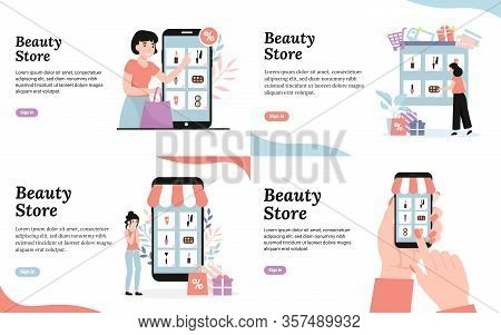 Beauty Cosmetic Store. Young Girls Buy Cosmetics Online. Shopping Concepts. Set Flat Vector Modern C