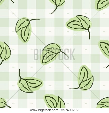 Hand Drawn Whimsical Herb Twig Gingham Seamless Pattern. Vector Vintage Check Retro Vegetable Backgr