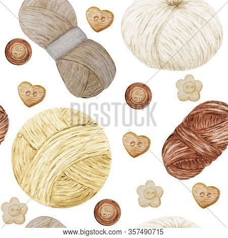 Watercolor Seamless Pattern Hobby Knitting. Collection Of Hand Drawn Beige, Brown Colors Elements Of