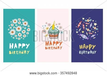Set Of Birthday Cards. Vecton Illustration In Cartoon Style. Set Of Birthday Designs. Happy Birthday