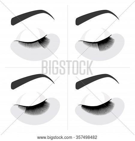 Eyelash Extension Procedure. Guide Step By Step. Infographic Vector Illustration