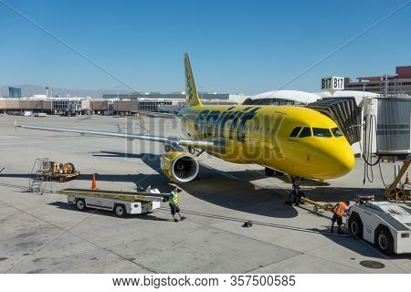 Las Vegas, USA - August 12,2019: Spirit airlines airplane in the airport at day time
