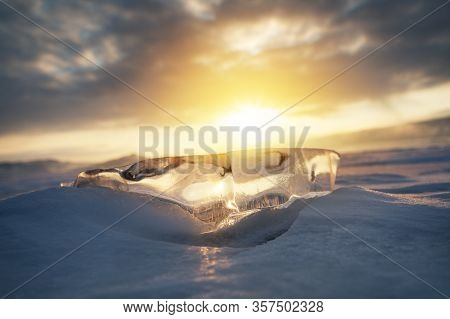 Natural Breaking Ice Over Frozen Water Lake, Baikal Russia Winter Season Natural Landscape Backgroun