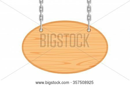 Empty Oval Wooden Hanging Sign With Chain Isolated On White, Wood Plank For Hanging Signs Copy Space