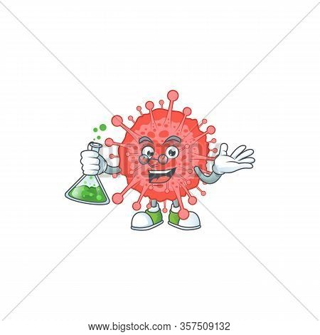 Coronavirus Disaster Brainy Professor Cartoon Design Grasp A Glass Tube