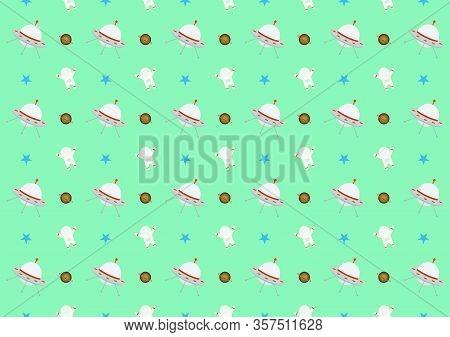 Abstract Pattern Vector Of Kids Science Design, Spaceship, Stars, Astronauts, Saturn Of Background.