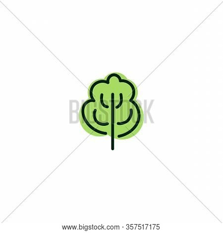 Green And Black Tree Icon On White Background. Isolated Forest Hand Drawn Nature Illustration. Tree