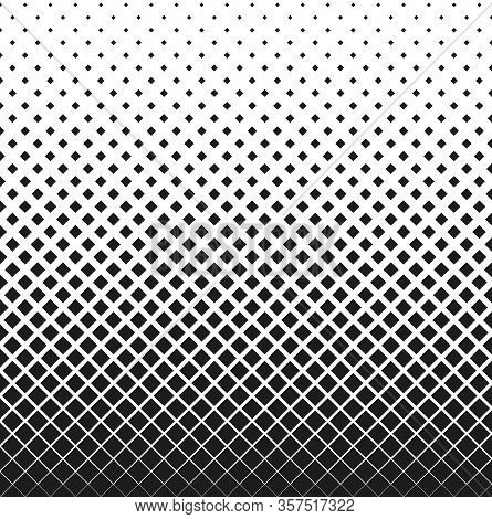 Horizontal Seamless Halftone Of Squares Decreases Up, On White Background. Contrasty Halftone Backgr