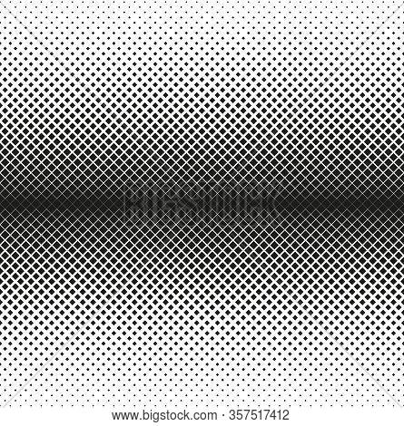 Horizontal Seamless Halftone Of Squares Decreases To Edge, On White Background. Contrasty Halftone B