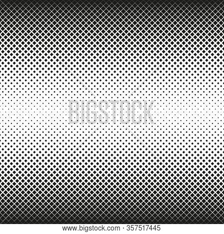 Horizontal Seamless Halftone Of Squares Decreases To Center, On White Background. Contrasty Halftone