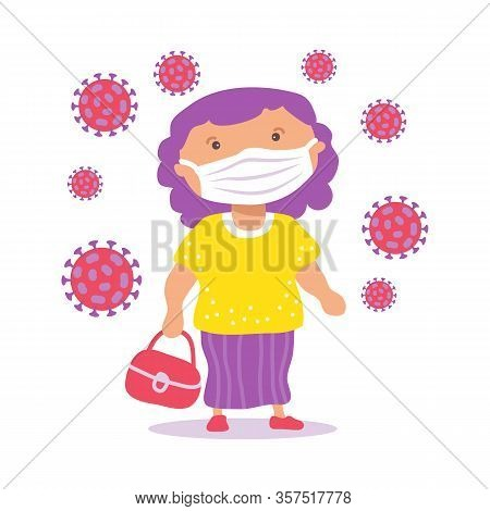 Body Positive Girl With Face Mask. Covid-19 Conceptual Vector Illustration. Protection From Coronavi