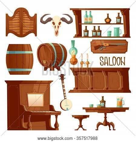 Cowboy Saloon, Western Retro Bar Furniture And Stuff Set. Wooden Swing Door, Table, Chair And Piano,