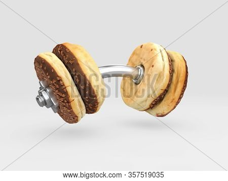 3d Rendering Of Food Dumbbell, The Choice Between Sports And Fast Food, Clipping Path Included