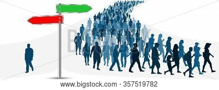 Crossroads Of A Crowd Of People. Choice Of The Way Of People. Direction Road Sign. Vector Illustrati