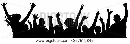 Fan Happy People. Cheerful Crowd Of People Cheering Applause. Silhouette Vector Illustration. Party