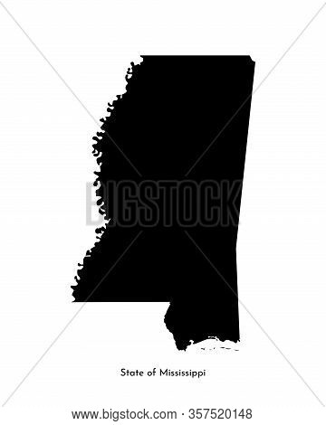 Vector Isolated Simplified Illustration Icon With Black Map Silhouette Of State Of Mississippi (usa)