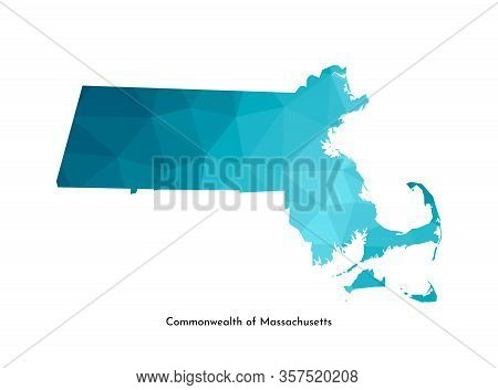 Vector Isolated Illustration Icon With Simplified Blue Map Silhouette Of Commonwealth Of Massachuset