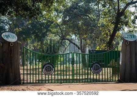 Bandhavgarh, Madhya Pradesh / India - 30 December 2018 : Main Entrance Or Entry Gate Locked And Clos