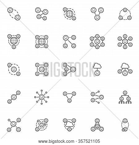 Social Network Connection Line Icons Set. Connected People Linear Style Symbols Collection, Outline