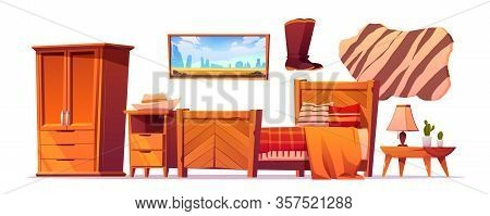 Wild West Bedroom Stuff Set. Western Rustic Style Wooden Furniture, Cupboard, Bed With Checked Plaid