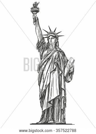 Statue Of Liberty, Symbol Of Freedom And Democracy In The United States Of America, Architectural La