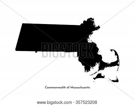 Vector Isolated Simplified Illustration Icon With Black Map Silhouette Of Commonwealth Of Massachuse
