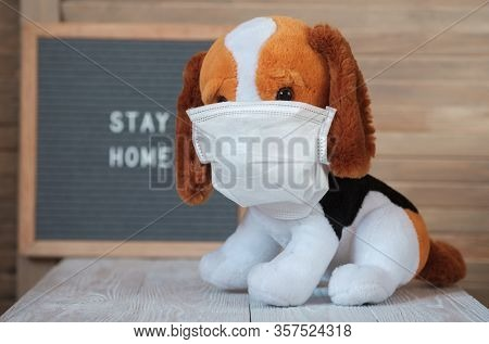 Cute Plush Toy Dog Beagle In A Medical Mask On The Background Of A Sign With The Text In English Qua