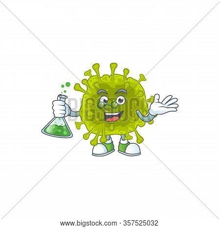 Coronavirus Spread Brainy Professor Cartoon Design Grasp A Glass Tube