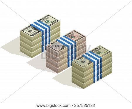 Stack Of Bank Packages Of Hundred Dollars, Fifty Dollars And Twenty Dollar Bills. Paper Money, Pile